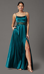 Image of beaded-waist hunter green long formal prom dress. Style: CT-2622GK8B Front Image