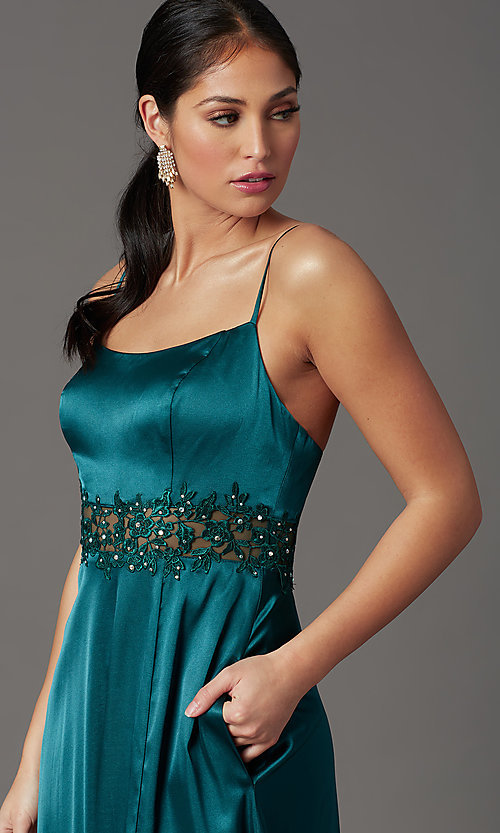 Image of beaded-waist hunter green long formal prom dress. Style: CT-2622GK8B Detail Image 1