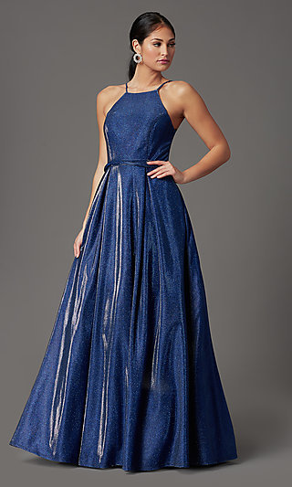 High-Neck Long Glitter-Knit Prom Dress in Cobalt