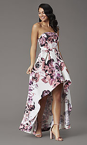 Image of high-low floral-print strapless formal prom dress. Style: SS-X36892R44 Detail Image 1