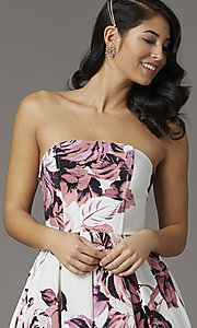 Image of high-low floral-print strapless formal prom dress. Style: SS-X36892R44 Detail Image 2