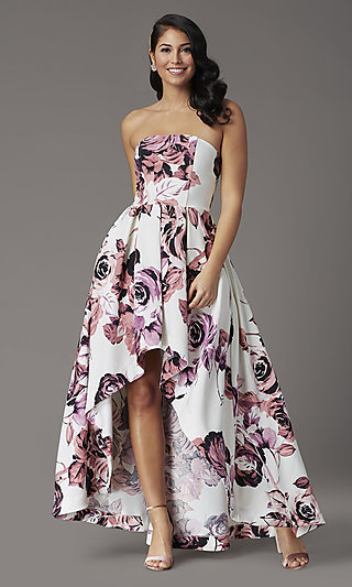 High-Low Floral-Print Strapless Formal Prom Dress