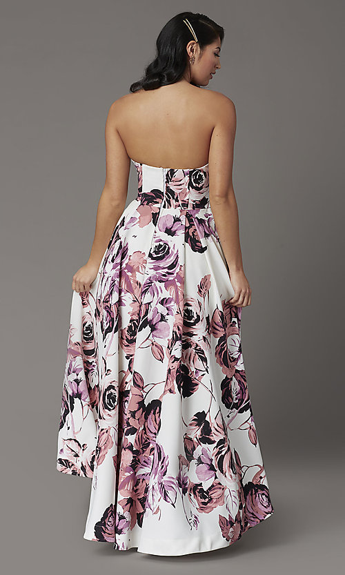 Image of high-low floral-print strapless formal prom dress. Style: SS-X36892R44 Back Image