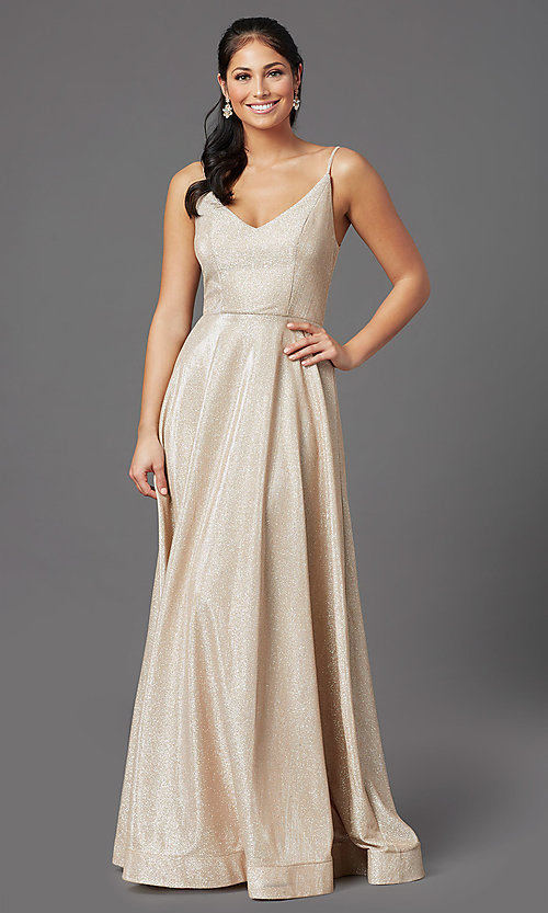 Image of sparkly long formal prom dress in champagne. Style: SS-X43181J735 Front Image