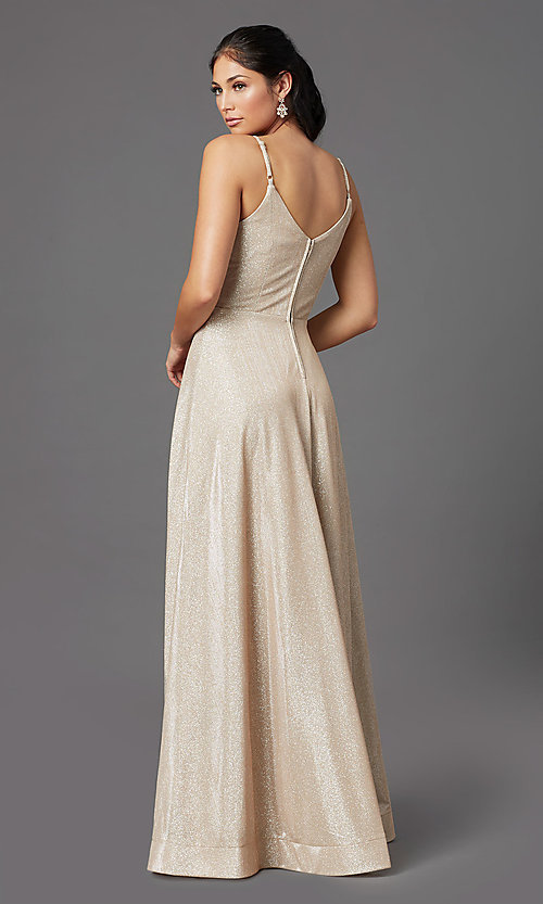 Image of sparkly long formal prom dress in champagne. Style: SS-X43181J735 Back Image