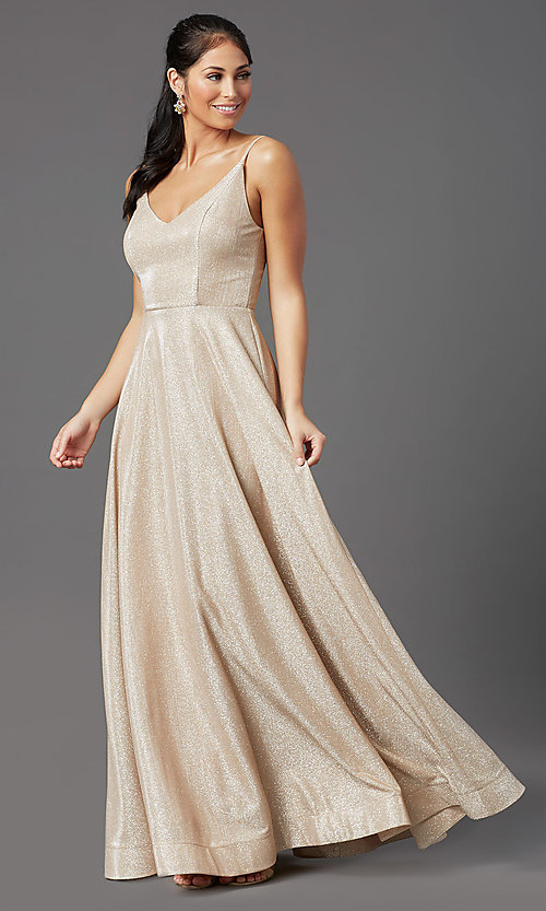 Image of sparkly long formal prom dress in champagne. Style: SS-X43181J735 Detail Image 2