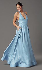Image of holographic long halter formal prom dress. Style: SS-X43461W326 Front Image