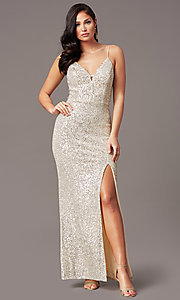 Image of long ivory and silver sequin formal prom dress. Style: SS-X43571TC47 Front Image