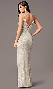 Image of long ivory and silver sequin formal prom dress. Style: SS-X43571TC47 Back Image