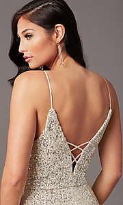 Image of long ivory and silver sequin formal prom dress. Style: SS-X43571TC47 Detail Image 1