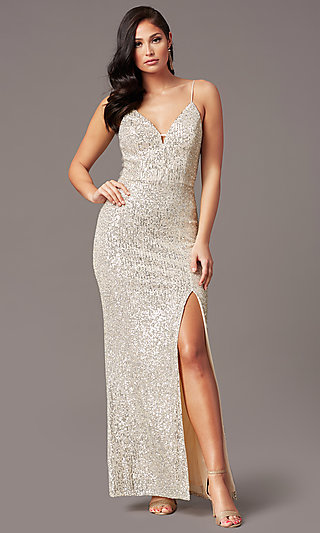 Long Ivory and Silver Sequin Formal Prom Dress