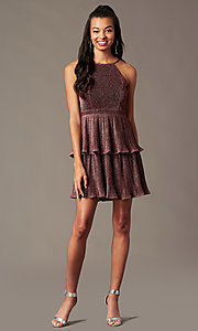 Image of glitter-knit backless short holiday party dress. Style: MT-1487 Front Image