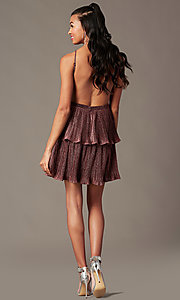 Image of glitter-knit backless short holiday party dress. Style: MT-1487 Back Image