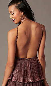 Image of glitter-knit backless short holiday party dress. Style: MT-1487 Detail Image 3
