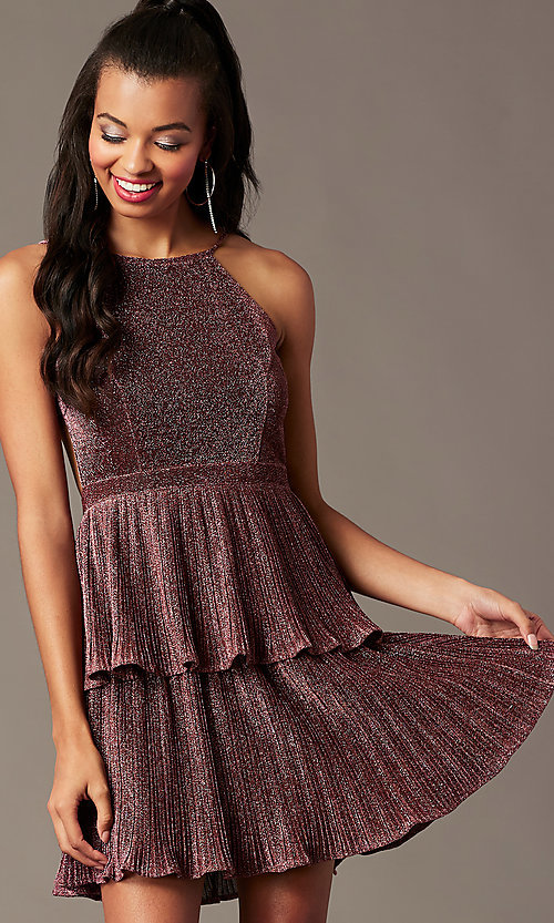 Image of glitter-knit backless short holiday party dress. Style: MT-1487 Detail Image 1