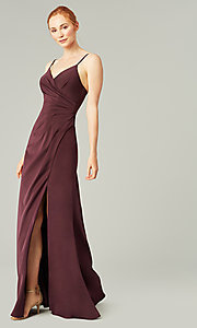 Image of affordable long wrap-style bridesmaid dress. Style: KL-200190 Detail Image 6