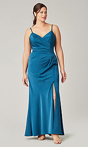 Image of affordable long wrap-style bridesmaid dress. Style: KL-200190 Detail Image 7