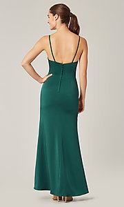 Image of affordable long wrap-style bridesmaid dress. Style: KL-200190 Detail Image 5