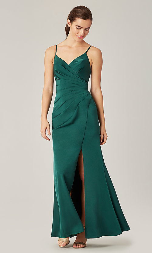 Image of affordable long wrap-style bridesmaid dress. Style: KL-200190 Detail Image 4