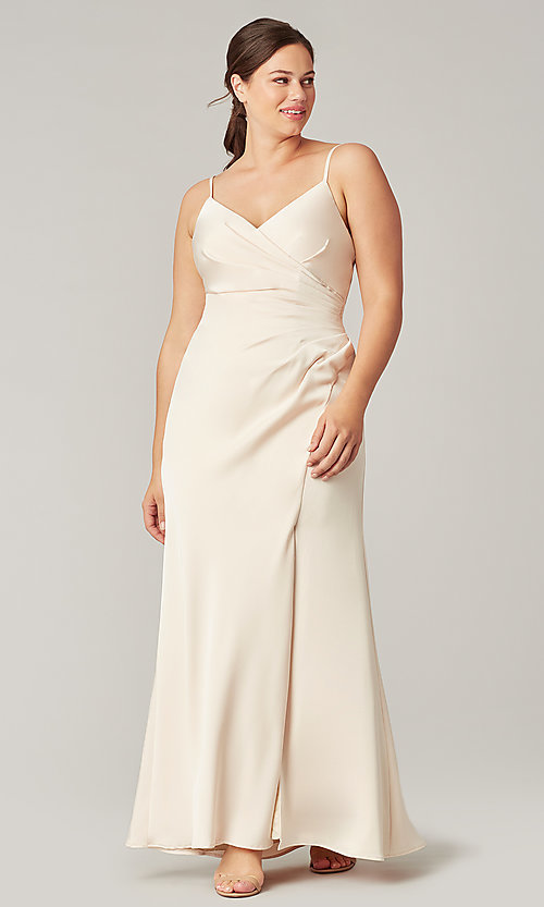 Image of affordable long wrap-style bridesmaid dress. Style: KL-200190 Detail Image 2