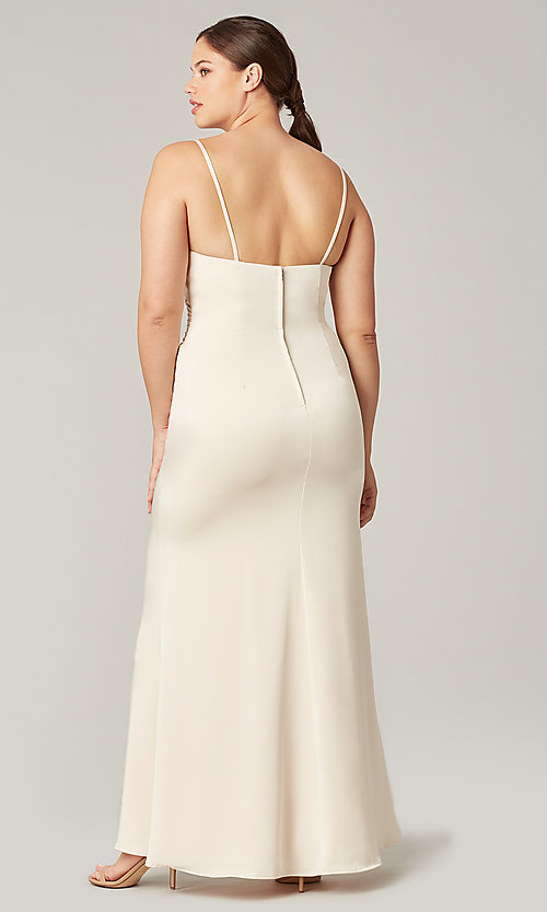Image of affordable long wrap-style bridesmaid dress. Style: KL-200190 Detail Image 3
