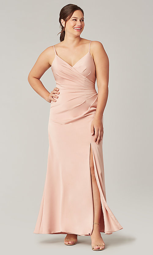 Image of affordable long wrap-style bridesmaid dress. Style: KL-200190 Front Image
