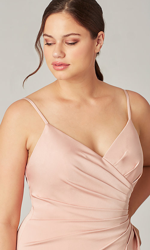 Image of affordable long wrap-style bridesmaid dress. Style: KL-200190 Detail Image 1