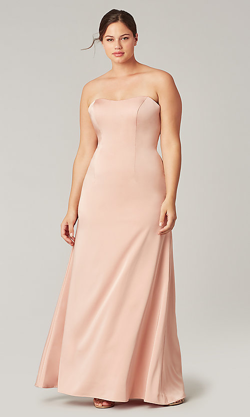 Image of corset strapless long bridesmaid dress. Style: KL-200193 Front Image