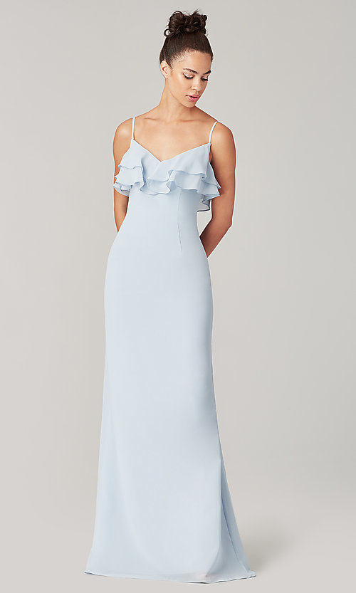 Image of ruffled long simple bridesmaid dress. Style: KL-200205 Front Image
