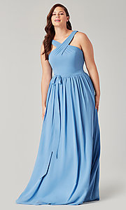 Image of high-neck long formal bridesmaid dress. Style: KL-200201 Front Image