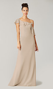 Image of one-shoulder long bridesmaid dress with bow. Style: KL-200203 Detail Image 7