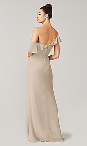 Image of one-shoulder long bridesmaid dress with bow. Style: KL-200203 Detail Image 8