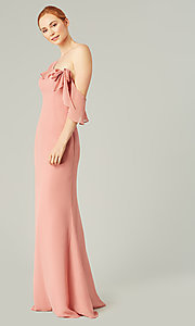 Image of one-shoulder long bridesmaid dress with bow. Style: KL-200203 Detail Image 1