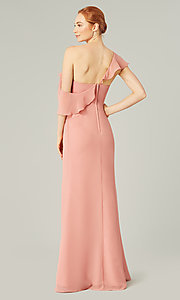 Image of one-shoulder long bridesmaid dress with bow. Style: KL-200203 Detail Image 2