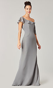 Image of one-shoulder long bridesmaid dress with bow. Style: KL-200203 Detail Image 3