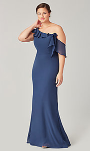Image of one-shoulder long bridesmaid dress with bow. Style: KL-200203 Detail Image 5