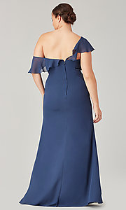Image of one-shoulder long bridesmaid dress with bow. Style: KL-200203 Detail Image 6