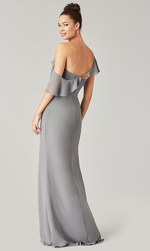 Image of one-shoulder long bridesmaid dress with bow. Style: KL-200203 Detail Image 4
