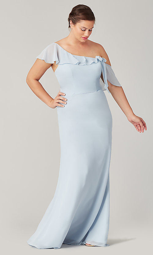 Image of one-shoulder long bridesmaid dress with bow. Style: KL-200203 Front Image