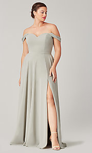 Image of sweetheart long bridesmaid dress with slit. Style: KL-200208 Detail Image 6