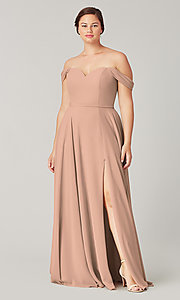 Image of sweetheart long bridesmaid dress with slit. Style: KL-200208 Detail Image 7