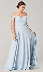 Image of sweetheart long bridesmaid dress with slit. Style: KL-200208 Front Image