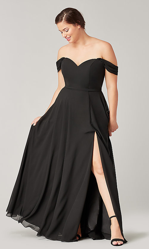 Image of sweetheart long bridesmaid dress with slit. Style: KL-200208 Detail Image 2