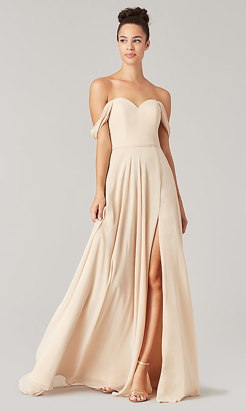 Image of sweetheart long bridesmaid dress with slit. Style: KL-200208 Detail Image 1