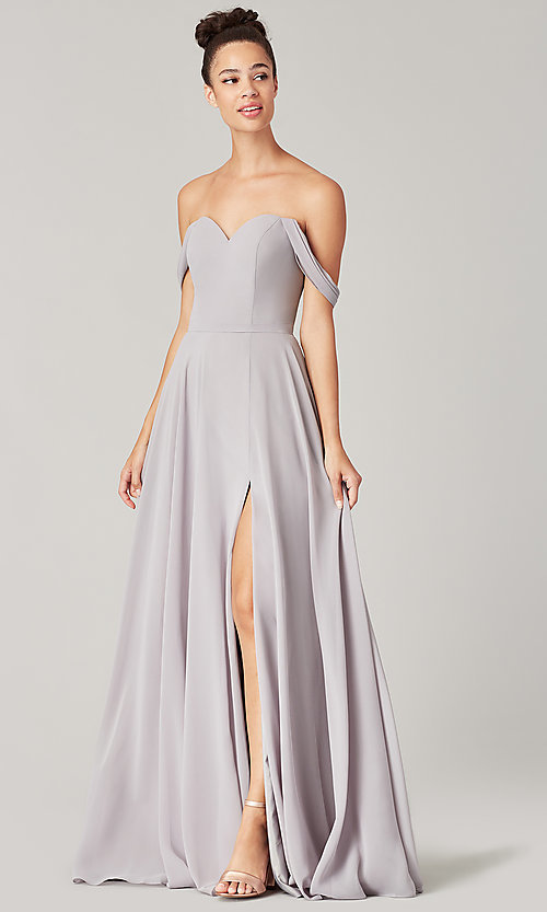 Image of sweetheart long bridesmaid dress with slit. Style: KL-200208 Detail Image 4