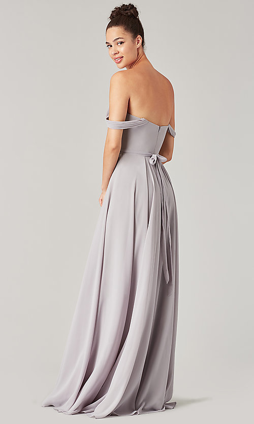 Image of sweetheart long bridesmaid dress with slit. Style: KL-200208 Detail Image 5
