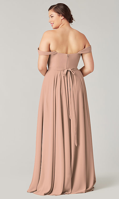 Image of sweetheart long bridesmaid dress with slit. Style: KL-200208 Detail Image 8