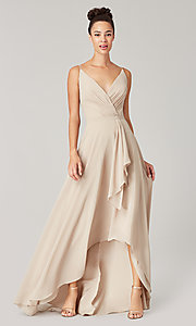 Image of high-low bridesmaid dress with sash. Style: KL-200207 Detail Image 1