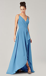 Image of high-low bridesmaid dress with sash. Style: KL-200207 Detail Image 3