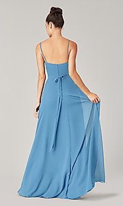 Image of high-low bridesmaid dress with sash. Style: KL-200207 Detail Image 4